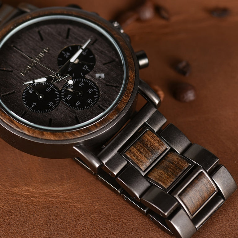 Luxury Wood Stainless Steel Men Watch