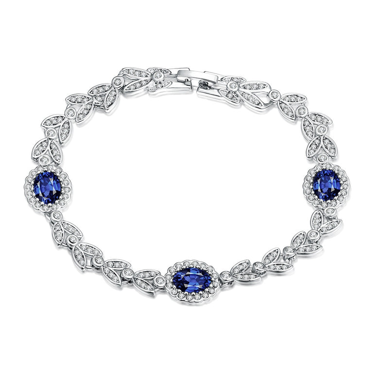 Sapphire Gem 18K White Gold Plated