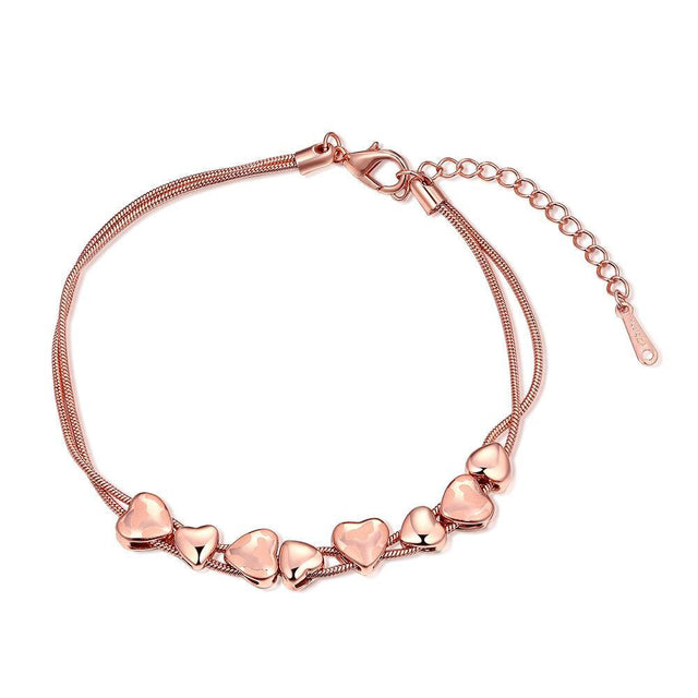 18K Rose Gold Plated Heart Bracelet