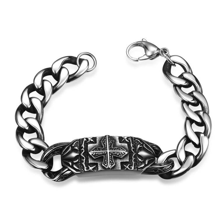 Thick Cut Cross Emblem Stainless Steel Bracelet