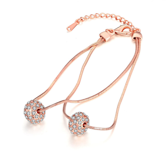 18K Rose Gold Plated Crystal Pava Ball Bracelet