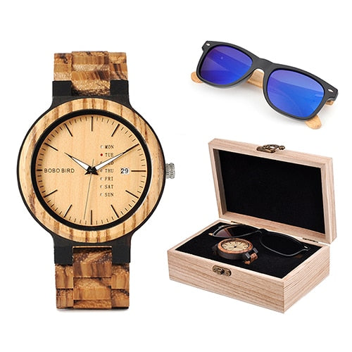 Classic Men Custom Wood Watch and Wooden Sunglasses