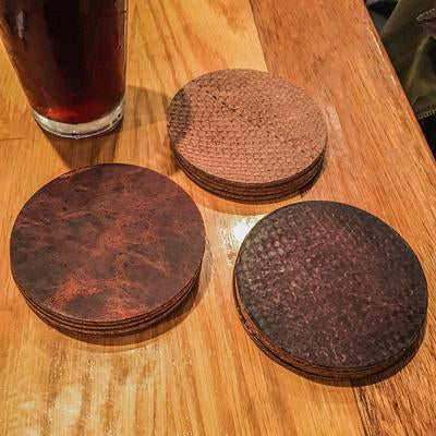 Salmon Leather Coaster Set
