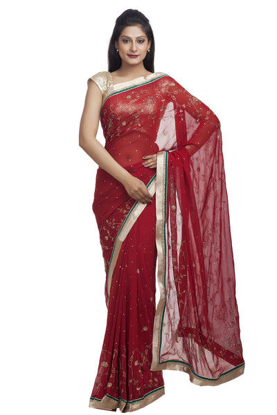 Red Chinese Red Georgette Saree