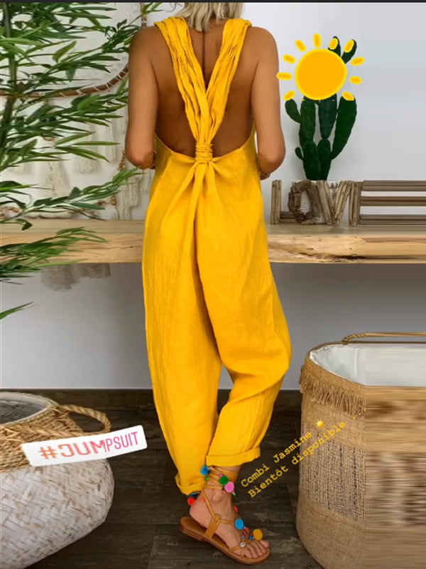 Plus Size Sleeveless Square Neck Backless  Casual Jumpsuit