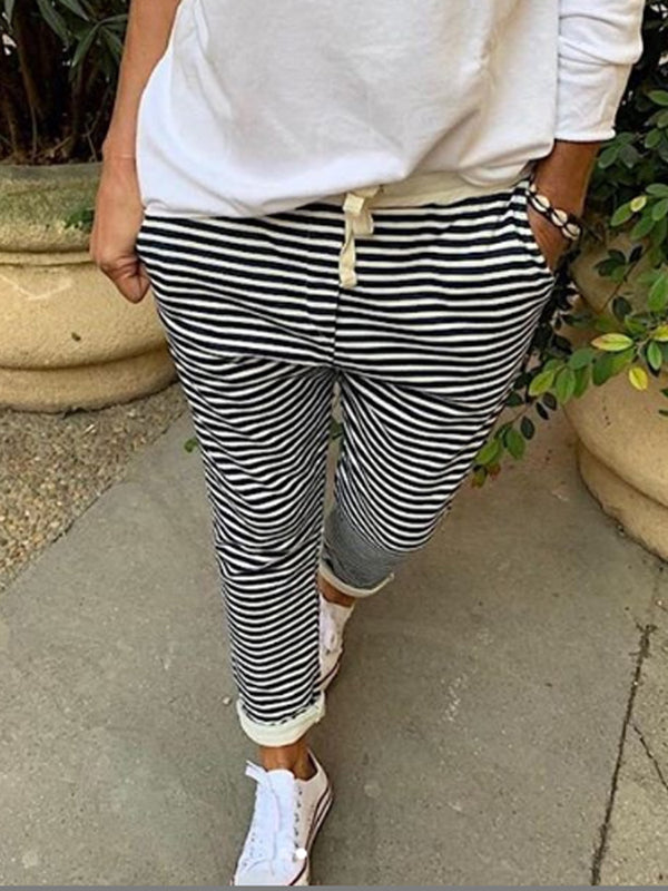 Color-Block Vintage Striped Cotton-Blend Pants