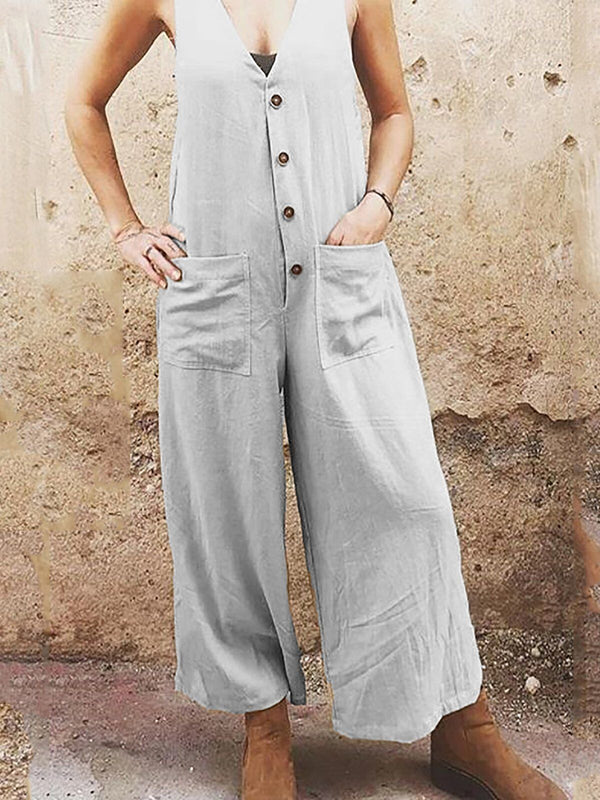 Casual Sleeveless Solid V neck Pants