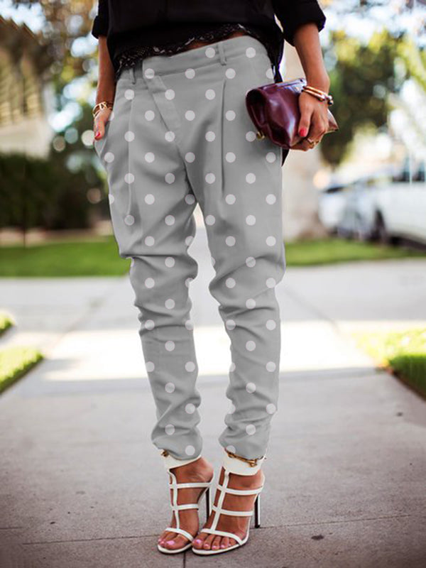 Polka Dots Casual Pockets Buttoned Pants