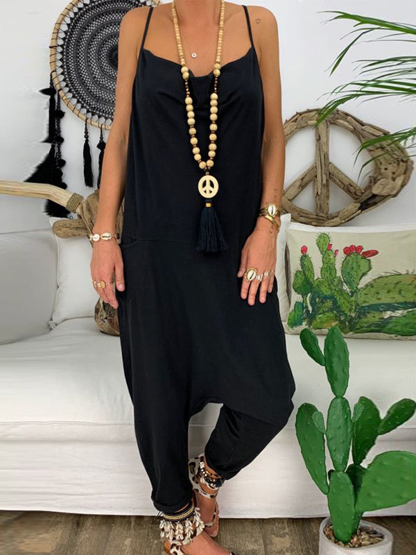 Casual Sleeveless Solid Jumpsuits
