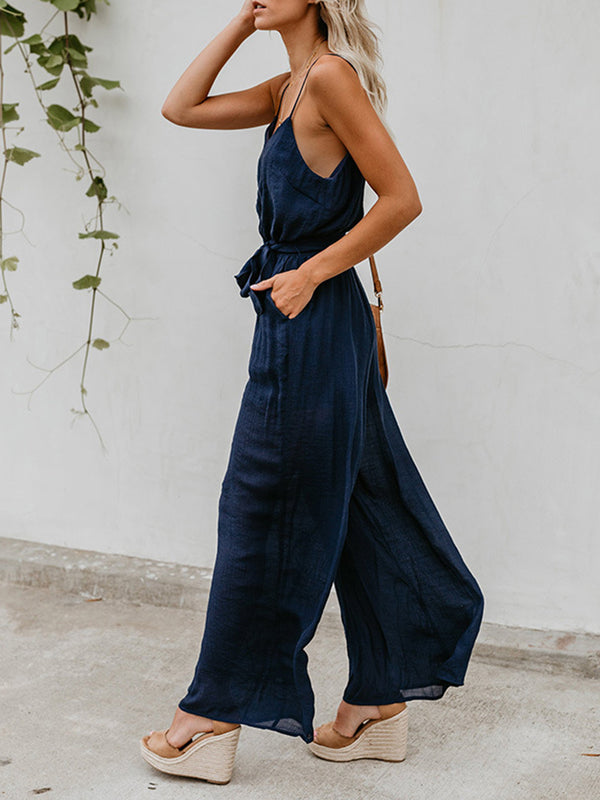 Sling Solid Sleeveless Lace Up Casual Jumpsuits