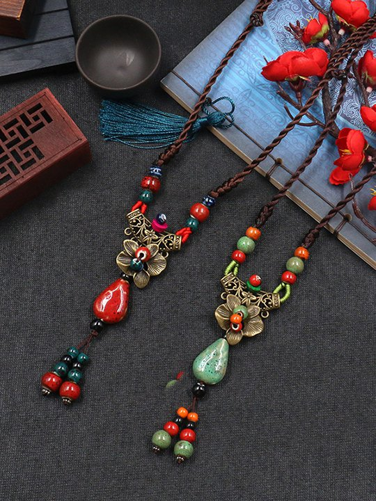 Folkways  Clothing Accessories Abstract Rose&Flower String Necklace