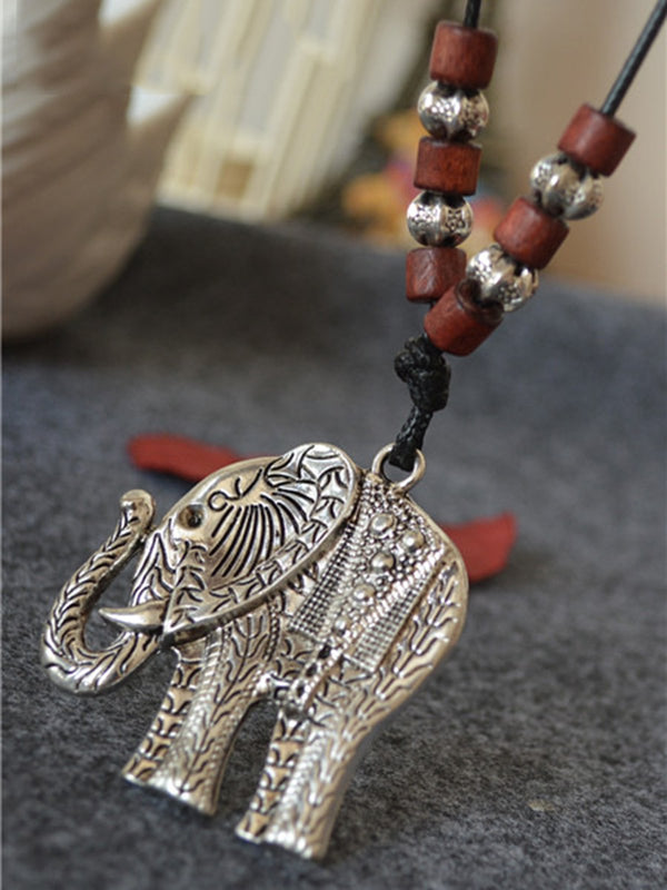 Elephant Beads Vintage Sweater Necklace