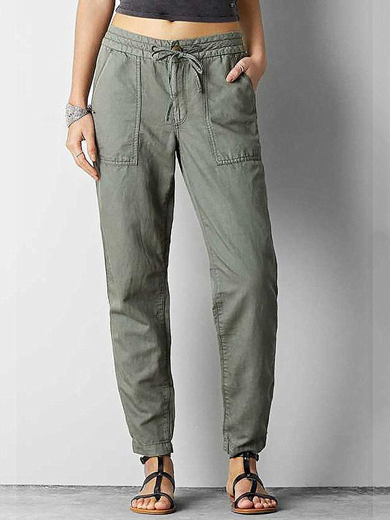 Elastic Waist Double Pockets Pants
