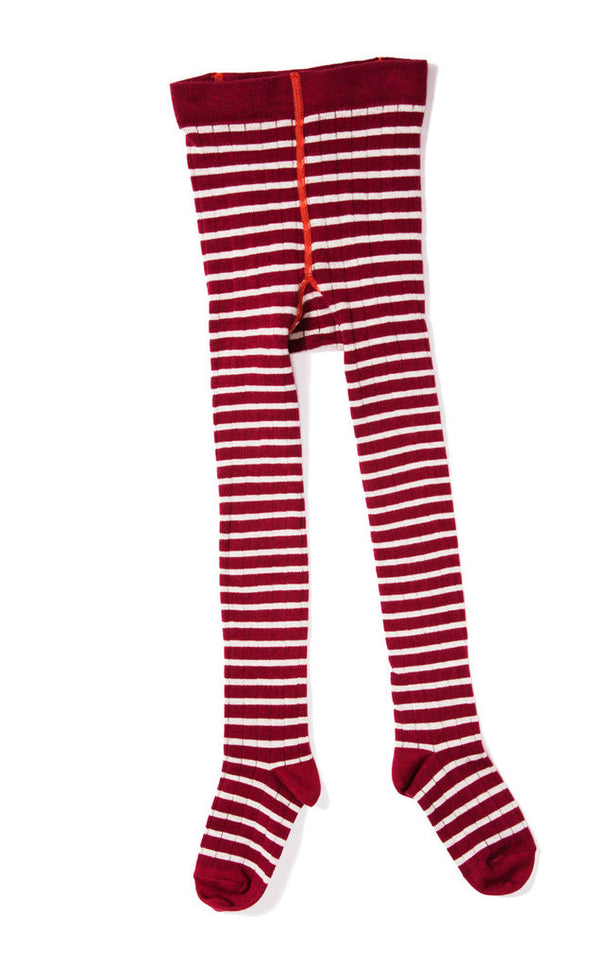 Hansel from Basel tights - rib stripe raspberry