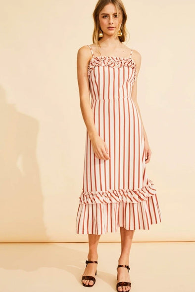 POL Laguna Frill Trim Dress - Laguna Stripe