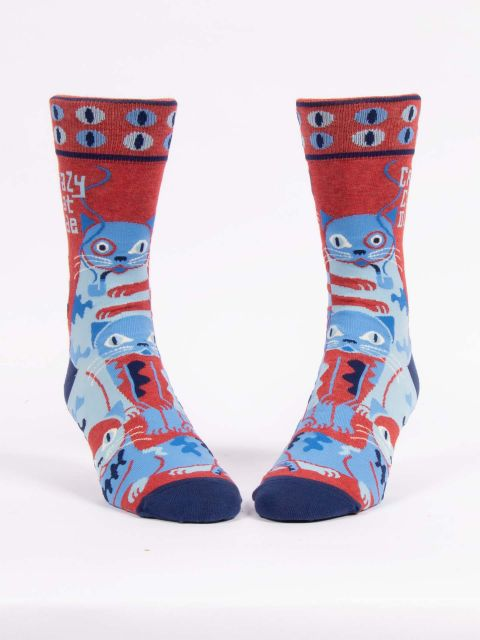Blue Q men's socks - Crazy Cat Dude