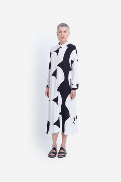 Elk Kalla Shirt Dress - Black + White