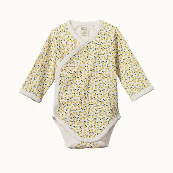 Nature Baby Long Sleeve Kimono Bodysuit - Lemmony Print