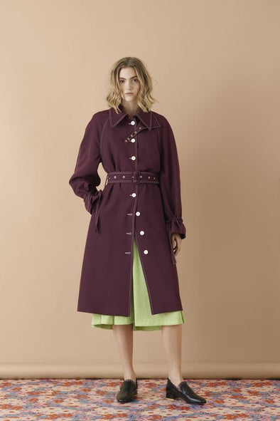 Stine Goya Flo Tailored Trench Coat - Mulberry
