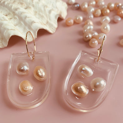 Penny Foggo Earrings - Resin Half Ovals with Pearls