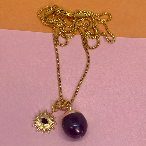 Penny Foggo Starburst Eye and Pearl Chain - Gold
