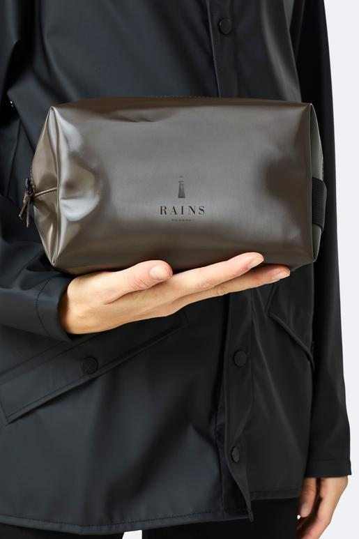 Rains Wash Bag small - Shiny Brown