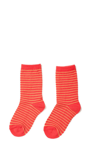 Hansel from Basel socks - stripe crew coral
