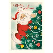 Cavallini Christmas Glitter Greetings - Santa postcards