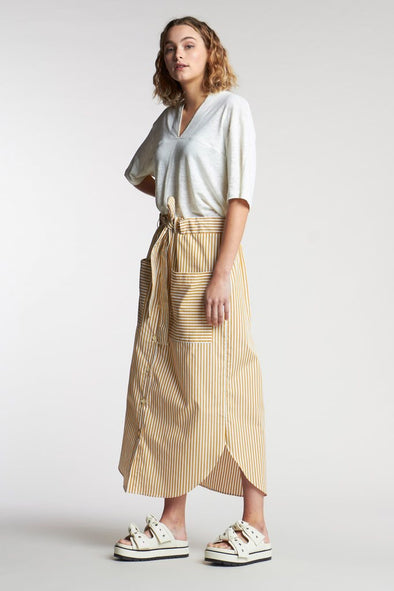Kloke Bowed Stripe Skirt - Ochre