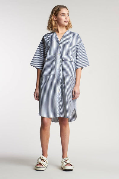 Kloke Fog Pocket Dress - Mid Stripe Ink