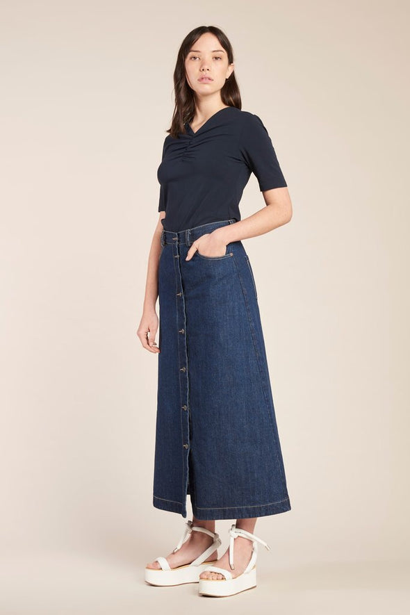 Kloke Assure Button Down Skirt - Indigo Denim