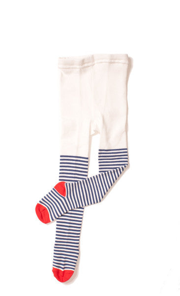 Hansel from Basel tights - nautical stripe ivory/blue