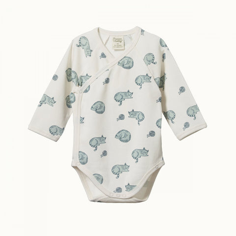 Nature Baby Long Sleeve Kimono Bodysuit - Sleepy Cat