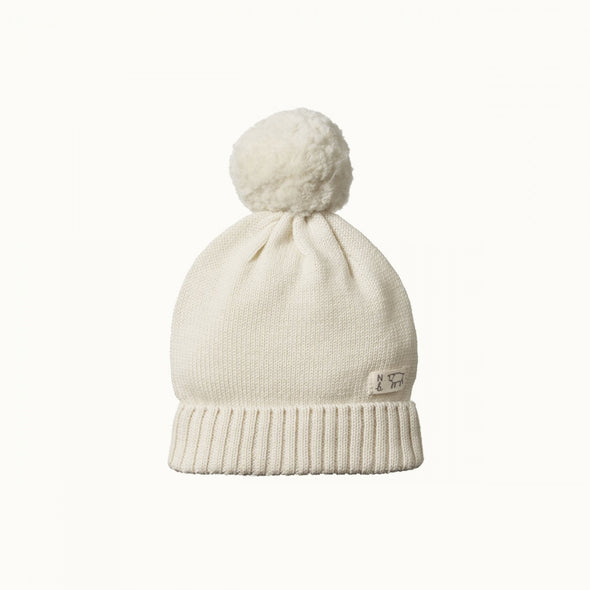 Nature Baby Alpine Pom Pom Knit Beanie - Natural