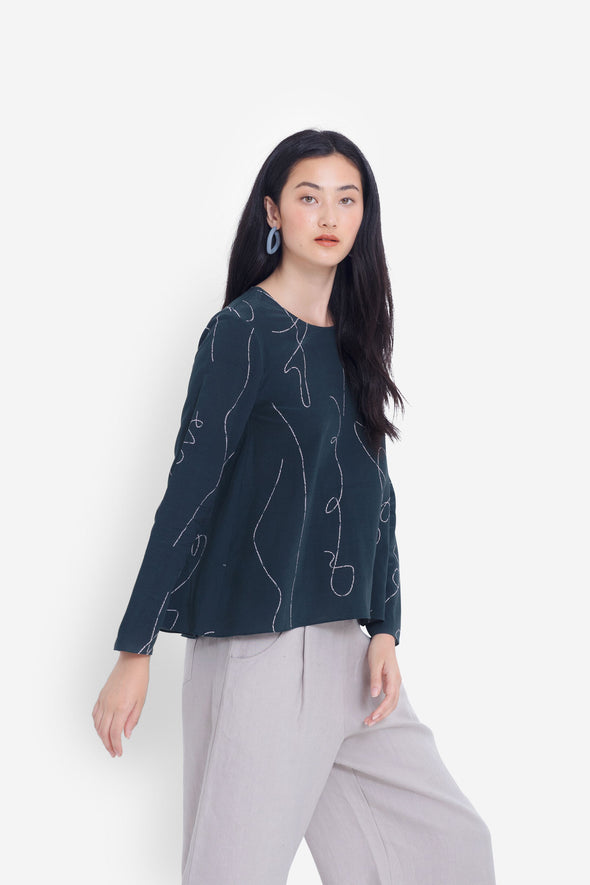 Elk Madlen Top - Seaweed/Blush