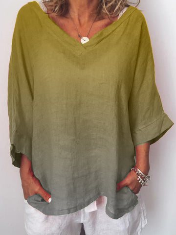 Plus Size Casual  V Neck 3/4 Sleeve Shirts & Tops