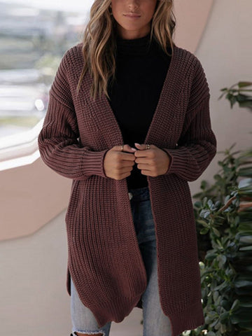 Casual Slit Long Sleeve Knitted Outerwear