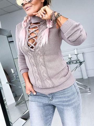 Casual Stand Collar Long Sleeve Sweater