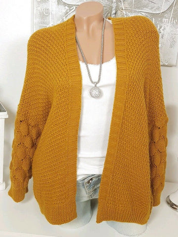 Knitted Casual Solid Cardigan
