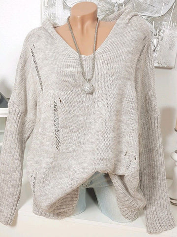 Long Sleeve Knitted Solid Sweater