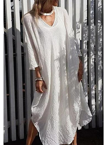 White Half Sleeve V Neck Dresses