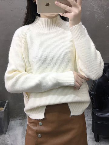 Button Down Turtleneck Knitted Sweaters