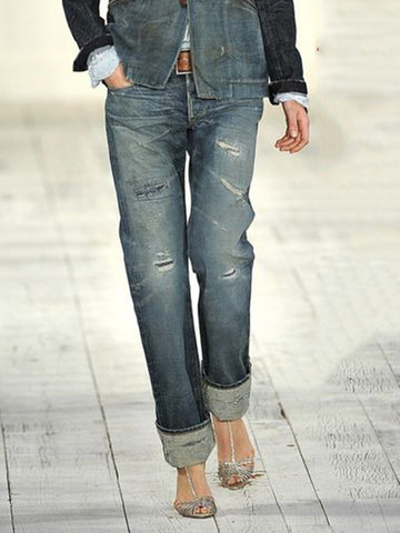 Dark Blue Vintage Solid Ripped Jeans