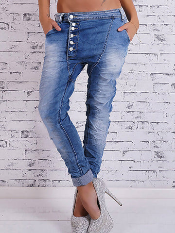 Asymmetrical Button Down Baggy Denim Pants Jeans