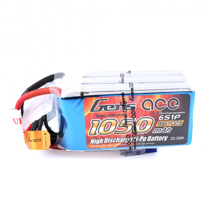 GENS ACE 1050mAh 22.2V 45C 6S1P LIPO BATTERY PACK-Mad 4 Heli