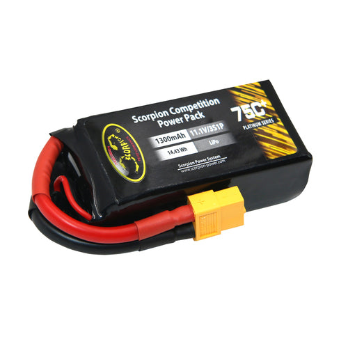 Scorpion Power 1300mAh 75C 11.1V 3S with EC3