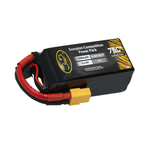 Scorpion Power 1300mAh 75C 14.8V 4S with EC3