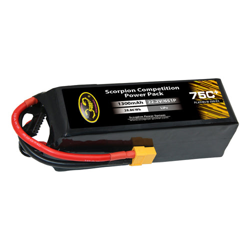 Scorpion Power 1300mAh 75C 22.2V 6S with XT60