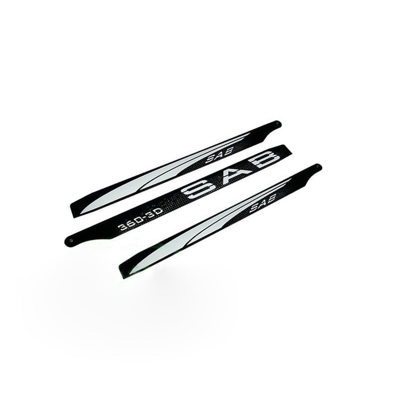 3D SAB Blackline 360mm Main Blades (3 Blade Set) 3BL360-3DW
