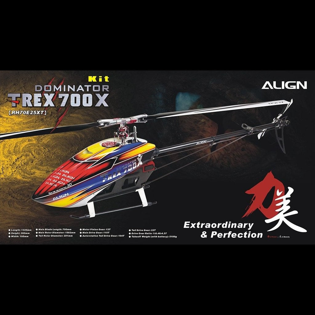 RH70E25X ALIGN T-REX 700X Dominator Kit Version-Mad 4 Heli